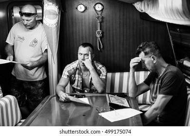 MILOS, GREECE - SEP 25, 2016: Skipper briefing during sailing regatta 16th Ellada Autumn 2016 among Greek island group in the Aegean Sea, in Cyclades and Saronic Gulf.