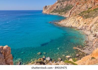 Milos island east coast seascape, Cyclades, Greece