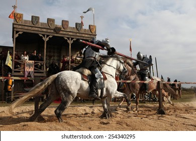 MILOVICE, CZECH REPUBLIC - OCTOBER 23, 2013: Medieval jousting competition during the filming of the new movie The Knights directed by Carsten Gutschmidt near Milovice, Czech Republic.