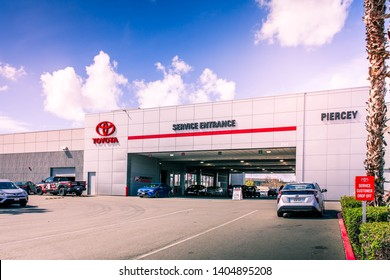 Milpitas, CA / USA - March 26, 2019: Toyota Motor Corporation the world's second-largest automotive manufacturer of vehicles under 5 brands: Toyota, Hino, Lexus, Ranz, Daihatsu. Piercey service center
