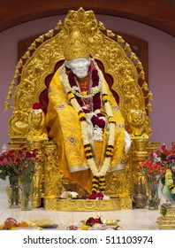 MILPITAS, CA- USA NOVEMBER 2015 - Hindu god Shirdi Sai Baba idol in Hindu temple. Sai Baba was an Indian spiritual master who was and is regarded by his devotees as a saint, fakir, and sat guru