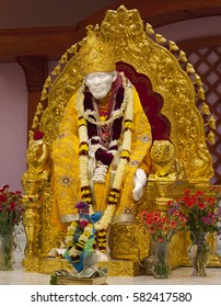 MILPITAS, CA- USA NOVEMBER 2015 - Hindu god Shirdi Sai Baba idol in Hindu temple. Sai Baba was an Indian spiritual master who was and is regarded by his devotees as a saint, fakir, and sat guru.