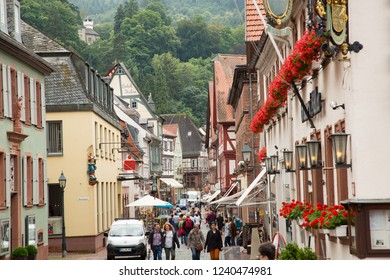 Miltenberg, Germany - 7/4/2013:  A colorful, crowded, busy street in downtown Miltenberg, Bavaria, Germany