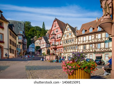 MILTENBERG, GERMANY -  JULY 19, 2018 :  Old houses at main square of  Miltenberg, Lower Franconia, Bavaria, Germany.