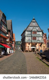 Miltenberg, Germany - July 24, 2019; Old half timbered house in Miltenberg a populair touristic city in Bavaria