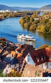 MILTENBERG, GERMANY - OCTOBER 21, 2018: Medieval german town Miltenberg on Main river, Lower Franconia, Bavaria, Germany.