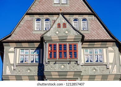 MILTENBERG, GERMANY - OCTOBER 21, 2018: The Hotel Zum Riesen in Medieval german town Miltenberg on Main river, Lower Franconia, Bavaria, Germany.