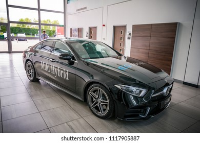 Milton Keynes, England, April 2018: Mercedes Benz CLS 2018 model presentation with new EQ Boost technology