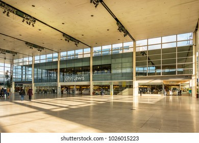 Milton Keynes on 6th Feb 2018: centre mk is one of the largest shopping centres in the UK with over 240 stores, cafes and restaurants and around 30M visits a year, John Lewis has the largest store