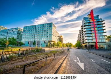 Milton Keynes town center at summer day