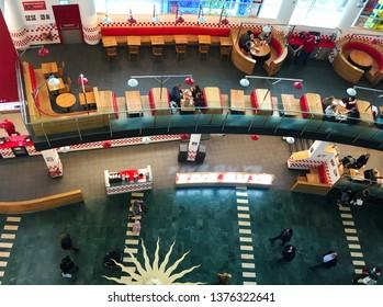 Milton Keynes, UK - 4 January 2018: Top down birds eye view of a 5 Guys fast food burger restaurant in an intu shopping centre mk city.