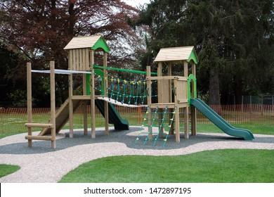 MILTON KEYNES, UK - APRIL 26, 2019: Children's playground climbing frame.
