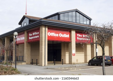 Milton Keynes, UK - March 29, 2018. Office Outlet store front on a retail park. Formerly owned by American company Staples Inc, the UK stores were sold to Hilco in 2016 and rebranded as Office Outlet