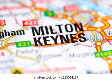 Milton Keynes. United Kingdom on a map