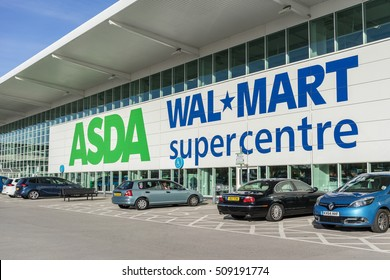 Milton Keynes,England on 2nd Nov 2016:Asda is a UK supermarket retailer, headquartered in Leeds.The company became a subsidiary of the American corporate giant Walmart after a £6.7 billion takeover