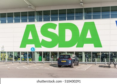 Milton Keynes,England on 2nd Nove 2016: Asda is a UK supermarket retailer, headquartered in Leeds.The company became a subsidiary of the American corporate giant Walmart after a £6.7 billion takeover