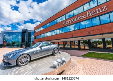 Milton Keynes,England-August ,2019:  Mercedes SLK class on display at the England head office of Daimler Mercedes-Benz