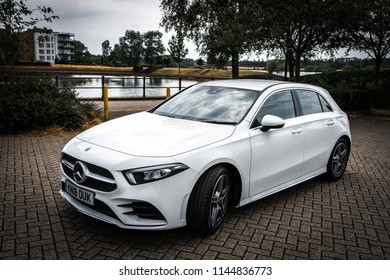Milton Keynes,England,July 2018: Mercedes-Benz A class 2018 model. New A class has been redesigned to attract young generation drivers