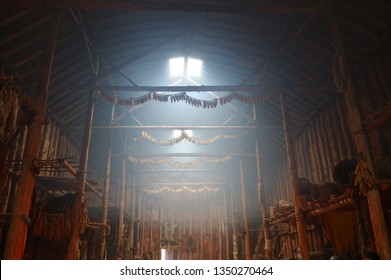Milton, Ontario, Canada - October 16, 2005: Inside an Iroquoian Native American Indian Longhouse