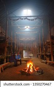 Milton, Ontario, Canada - October 16, 2005: Replica of an Iroquois Native American Indian Longhouse