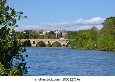 Milvian Bridge on river Tiber in Rome, Italy