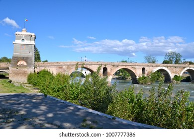 Milvian Bridge on river Tiber in Rome