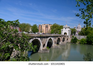 Milvian Bridge on river Tiber in Rome