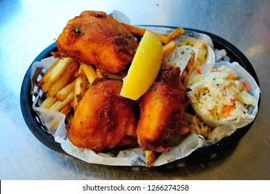 Milwaukee fish fry, served with french fries and coleslaw