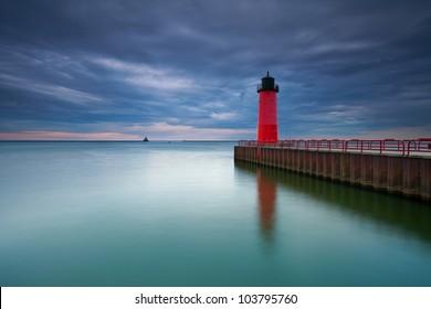 Milwaukee Lighthouse. Image of the Milwaukee Lighthouse at sunset.