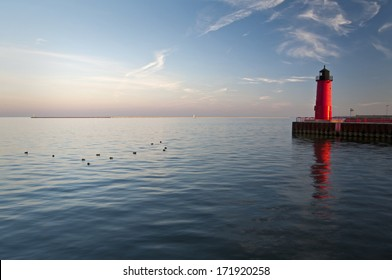 The Milwaukee Lighthouse in warm afternoon light, Milwaukee, Wisconsin.