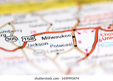 Milwaukee. North Carolina. USA on a geography map