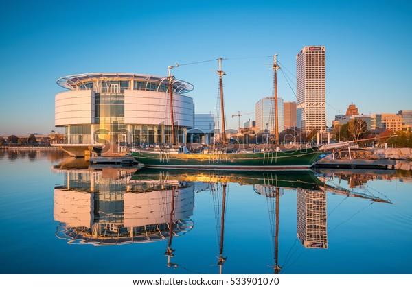 Milwaukee - Nov 6: Downtown Milwaukee  skyline on November 6, 2016