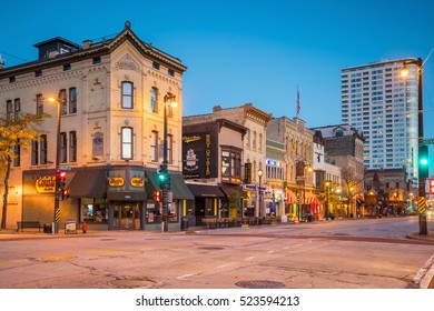 Milwaukee - Nov 6: Downtown Milwaukee  Wisconsin in USA at night on November 6, 2016