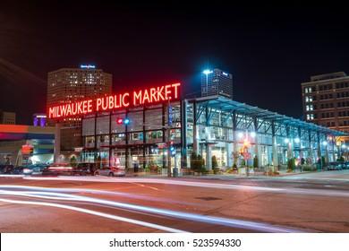 Milwaukee - Nov 6: Public Market in the Historic Third Ward section of Milwaukee Wisconsin at night  on November 6, 2016
