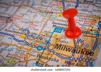 Milwaukee on USA travel map