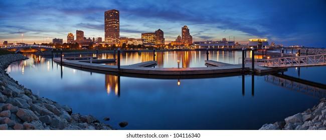 Milwaukee  Panorama. Panoramic image of the Milwaukee lakefront during sunset.