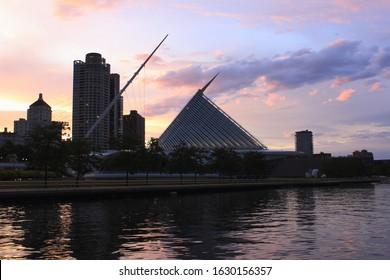Milwaukee skyline along Michigan lake shore
