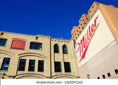 Milwaukee, USA - October 19, 2018 - The Miller Brewery complex in Milwaukee, Winsconsin
