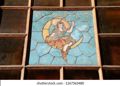 Milwaukee, USA - October 19, 2018 - The Miller High Life Girl in the Moon icon of the Miller Brewery complex in Milwaukee, Winsconsin