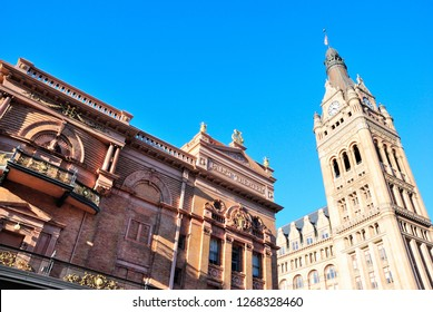 Milwaukee, USA - October 19, 2018 - The Pabst Theater building with City Hall in the back in Milwaukee, Wisconsin