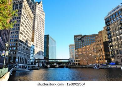 Milwaukee, USA - October 19, 2018 - Milwaukee Riverwalk in Milwaukee, Wisconsin