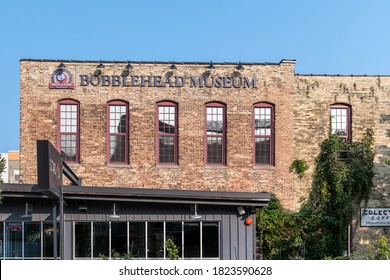 Milwaukee, WI: 23 September 2020:  A image of the bobblehead museum located in downtown Milwaukee