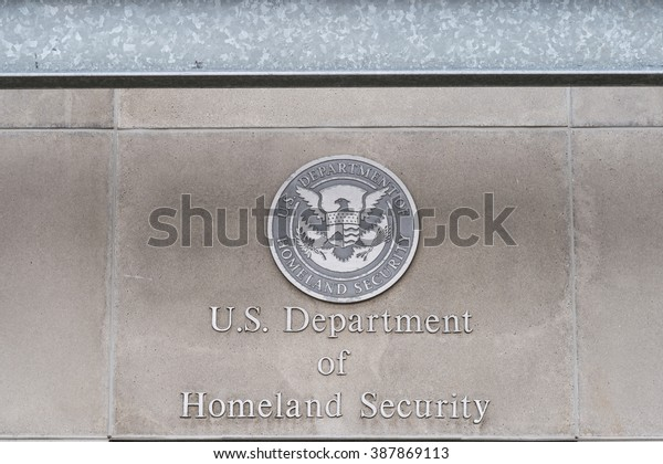 Milwaukee, WI - 8 March 2016:  U.S, Department of Homeland Security logo on a federal building