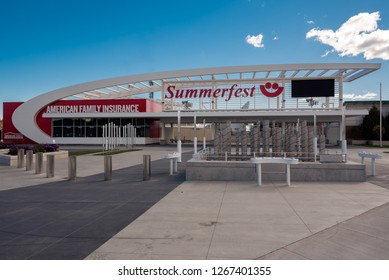 "Milwaukee, WI / USA - October 23 2018: The main gate of Summerfest ""The Worlds Largest Outdoor Music Festival"" located on the Henry Maier Festival Park grounds."