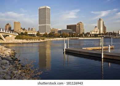 Milwaukee, Wisconsin seen from marina