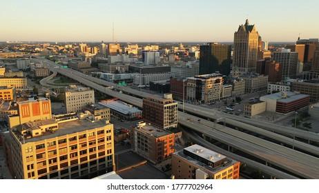 Milwaukee, Wisconsin / United States of America - July 11 2020:  Aerial view of downtown of Milwaukee, Wisconsin