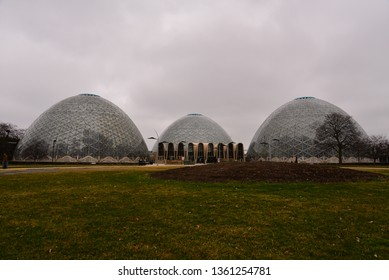 Milwaukee, Wisconsin / USA - April 6, 2019: The Mitchell Park Domes on an overcast day .