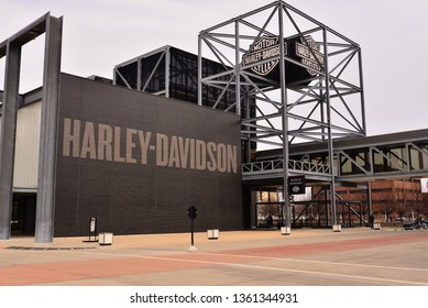 Milwaukee, Wisconsin / USA - April 6, 2019:  The main entrance of the Harley Davidson Museum on an overcast foggy day.