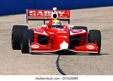 Milwaukee Wisconsin, USA - August 15, 2014: Indy Lights Series practice session Friday. 5 Gabby Chaves - Colombia, Belardi Auto Racing