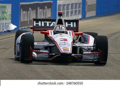 Milwaukee Wisconsin, USA - August 16, 2014: Verizon Indycar Series Indyfest ABC 250 Practice and Qualifying sessions on track action. Helio Castroneves Sao Paulo, Brazil Hitachi Team Penske